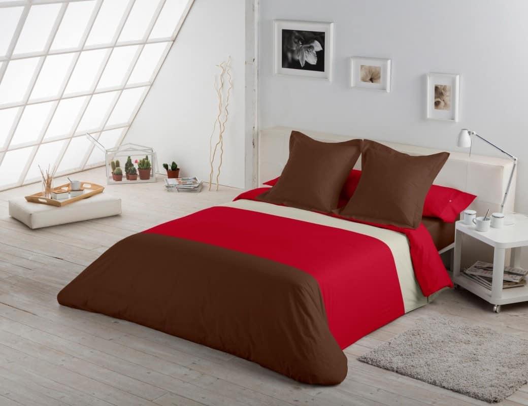 fundas nordicas de tres colores marron rojo blanco